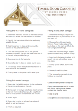 Fitting instructions for our range of timber door canopies