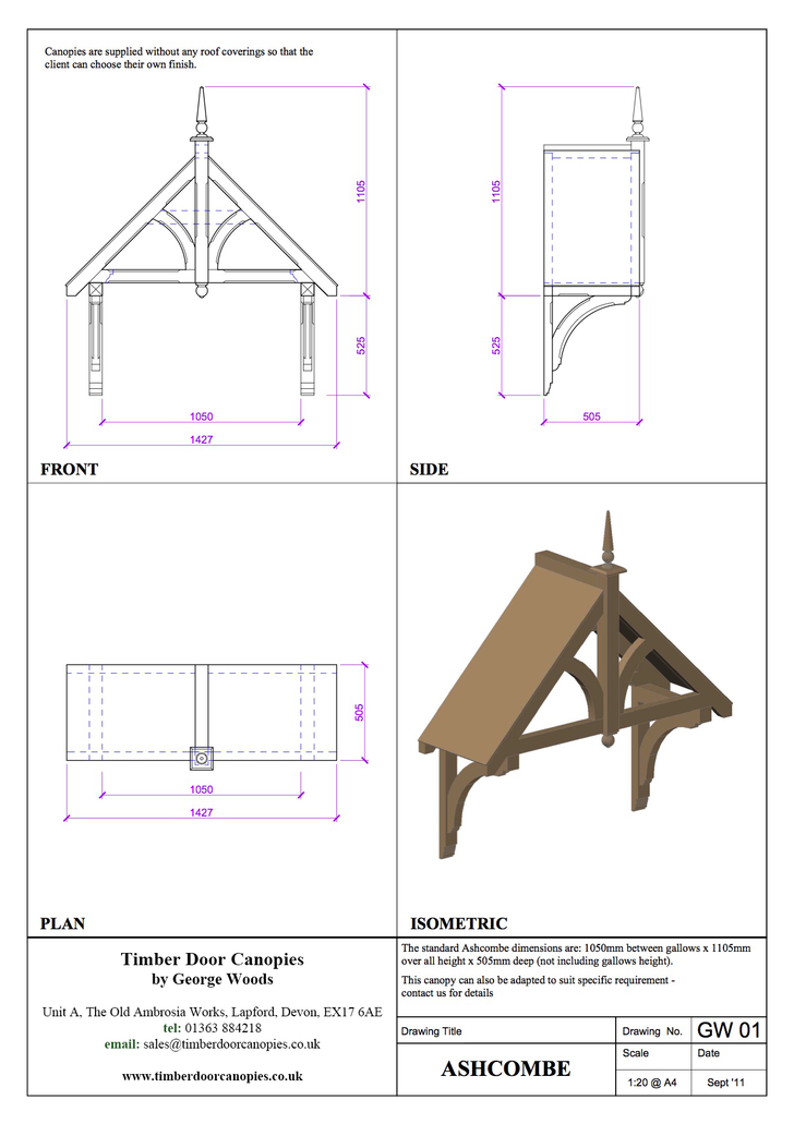 Branscombe canopy CAD Drawings