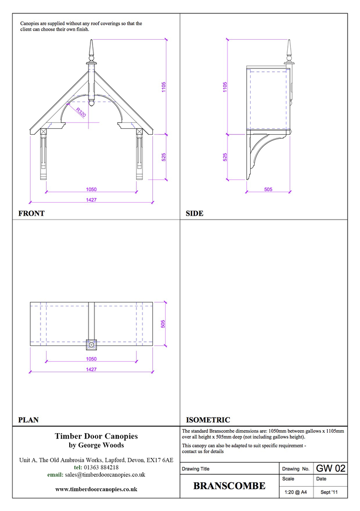 Chilcombe canopy CAD drawings