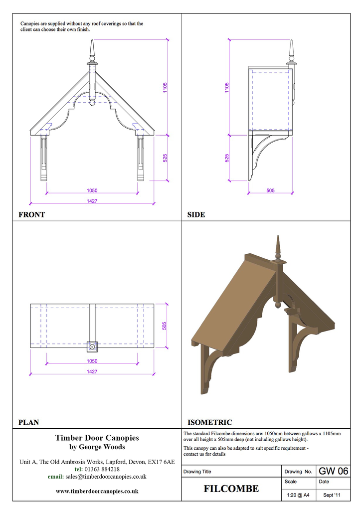Filcombe canopy CAD drawings