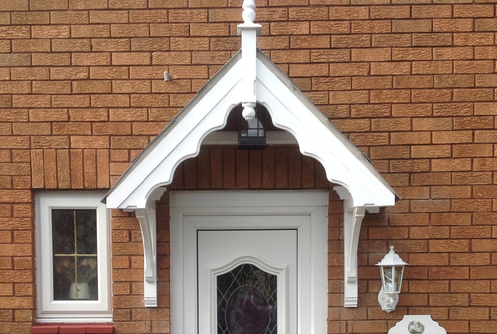 Traditional A frame timber door canopy